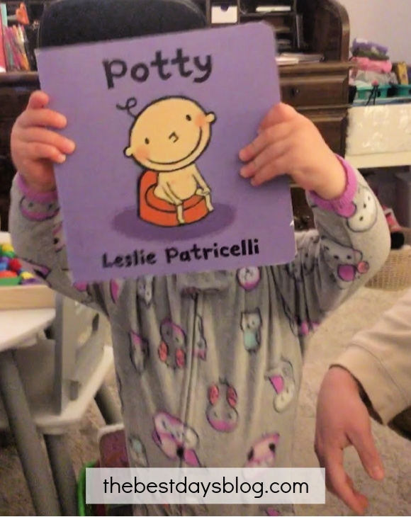 Celebrating our daughter's first pee on the potty with her Potty book
