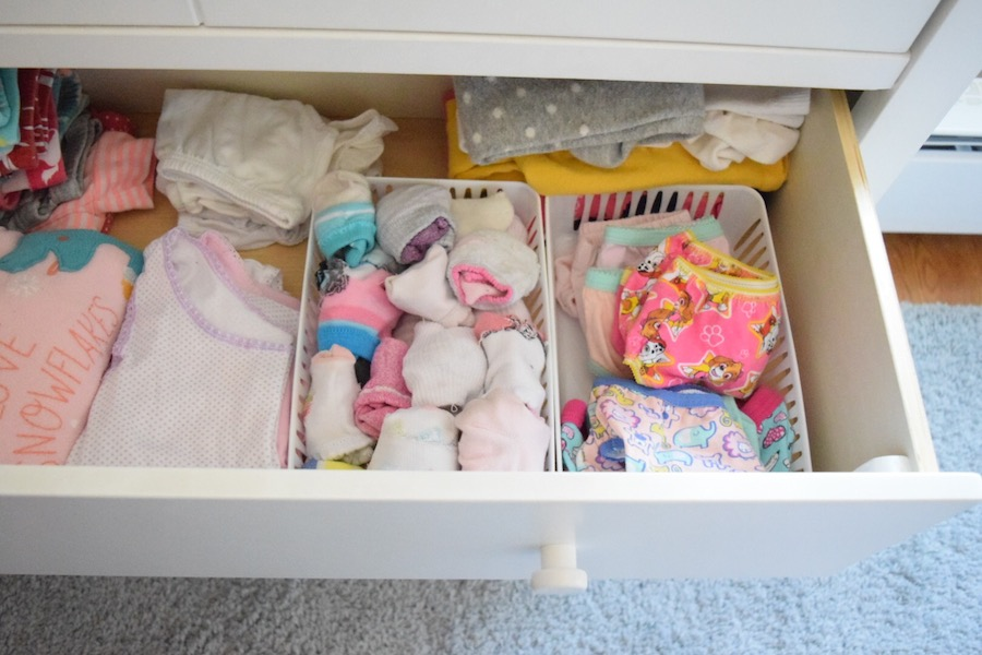 toddler's drawer to reach clothes to help pick them out