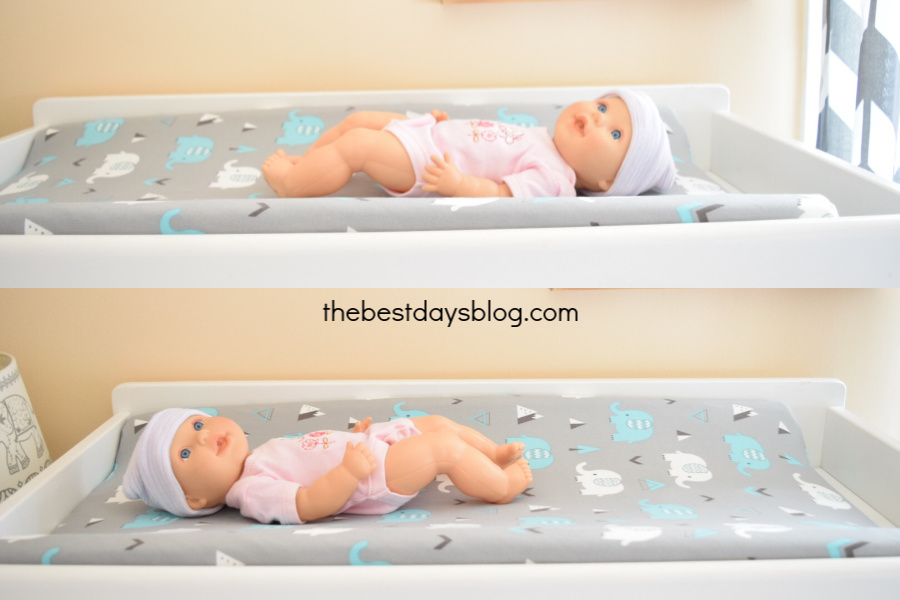 baby facing different ways on changing table to prevent flathead