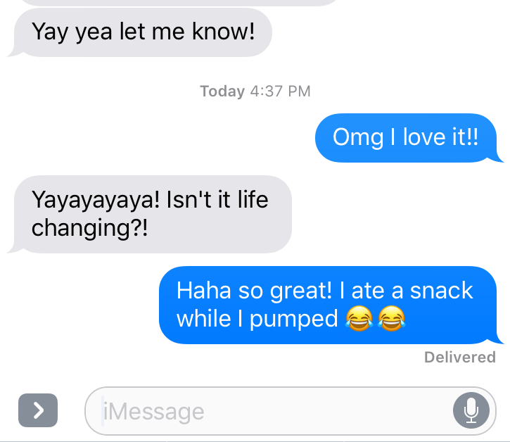 Text message between two women about a hands-free pumping bra