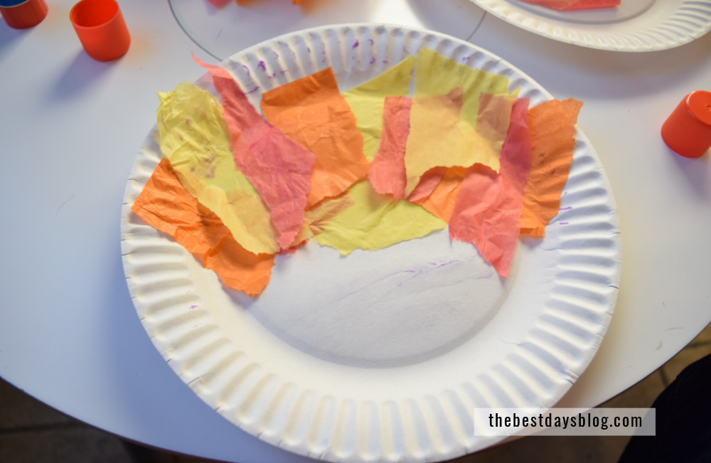 paper plate with tissue paper in patter to resemble turkey feathers