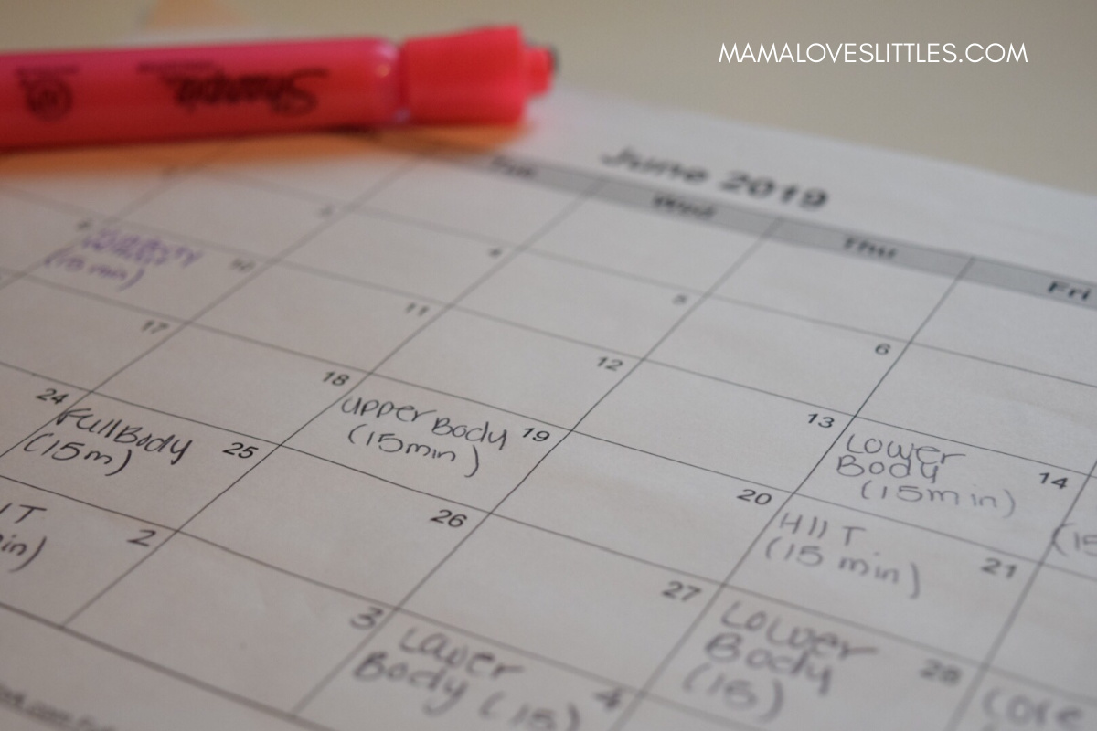 Write down when you exercise as a way to keep track of you progress