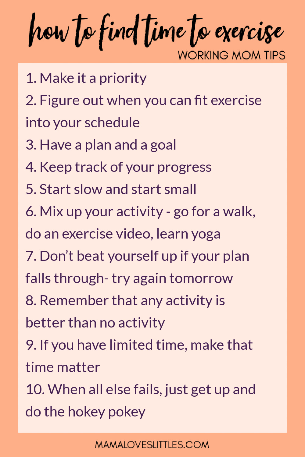 Summary list of how to find time to exercise for working moms
