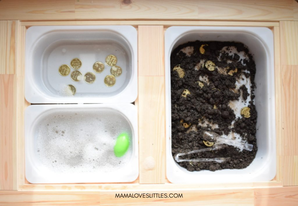 Find the gold St. Patricks' Day activity sensory table with bins