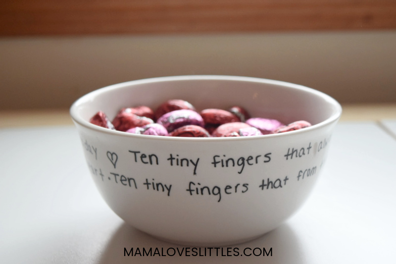 bowl of bandy with poem written on the outside of the bowl