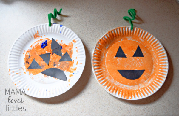 Two paper plates decorated to look like a pumpkin Toddler version and mom version.